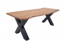 Table acacia massif et pieds X métal