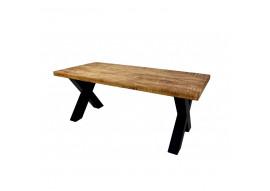 Table manguier massif et pieds X métal